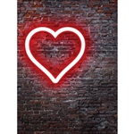 Neon Valentines Day Printed Backdrop