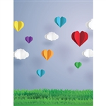 Paper Hearts Printed Backdrop