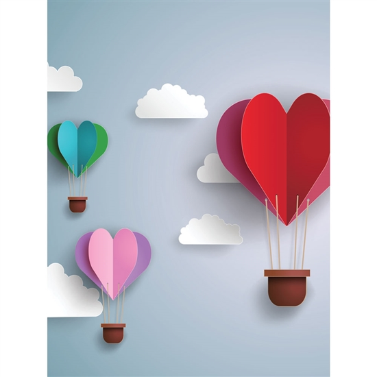 Paper Hot Air Balloons Printed Backdrop