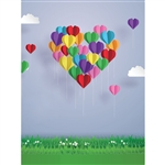 Valentine Balloons Printed Backdrop