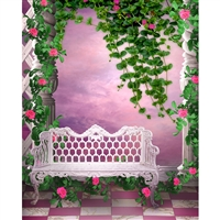 Rosy Pink Courtyard Printed Backdrop