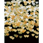 Gold Hearts on Black Bokeh Printed Backdrop