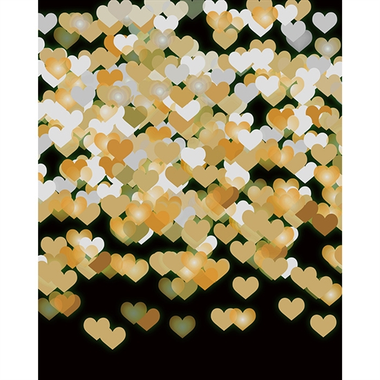 Gold Hearts On Black Bokeh Printed Backdrop Backdrop Express