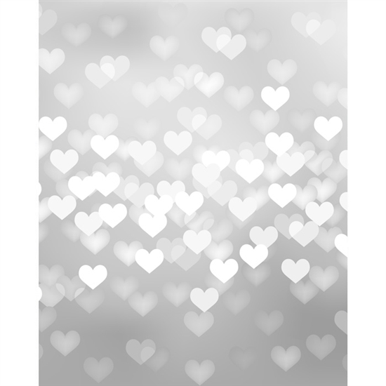 Silver Heart Bokeh Printed Backdrop - Vinyl - 5ft (w) x 6ft (h)
