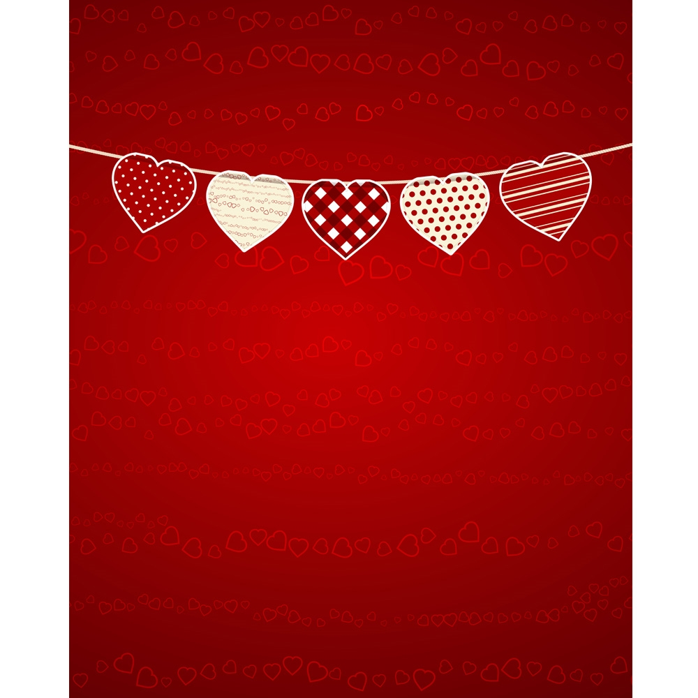 valentines day bunting printed backdrop - Valentines Backdrops