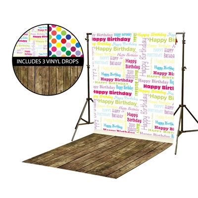Birthday Collage & Polka Dots Vinyl Backdrop Kit
