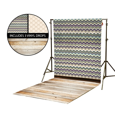 Dark Chevron & Cream Polka Dots Vinyl Backdrop Kit