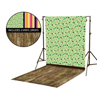Autumn Dots & Stripes Vinyl Backdrop Kit