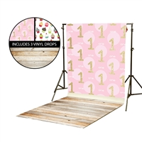 Gold 1st Birthday & Cupcake Vinyl Backdrop Kit
