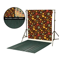 Harvest Leaves & Jack O'Lanterns Vinyl Backdrop Kit