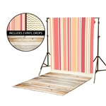 Peach Stripes & Gold Chevron Vinyl Backdrop Kit