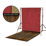 Red Floral Swirls & Plaid Vinyl Backdrop Kit