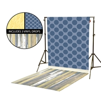 Blue Polka Dot & Sunflower Vinyl Backdrop Kit