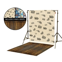 Cameras & Painted Squares Vinyl Backdrop Kit