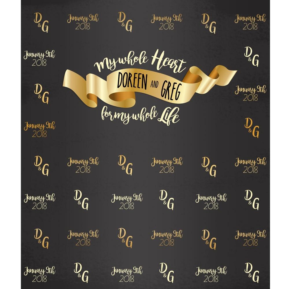 My Whole Heart Custom Wedding Printed Backdrop