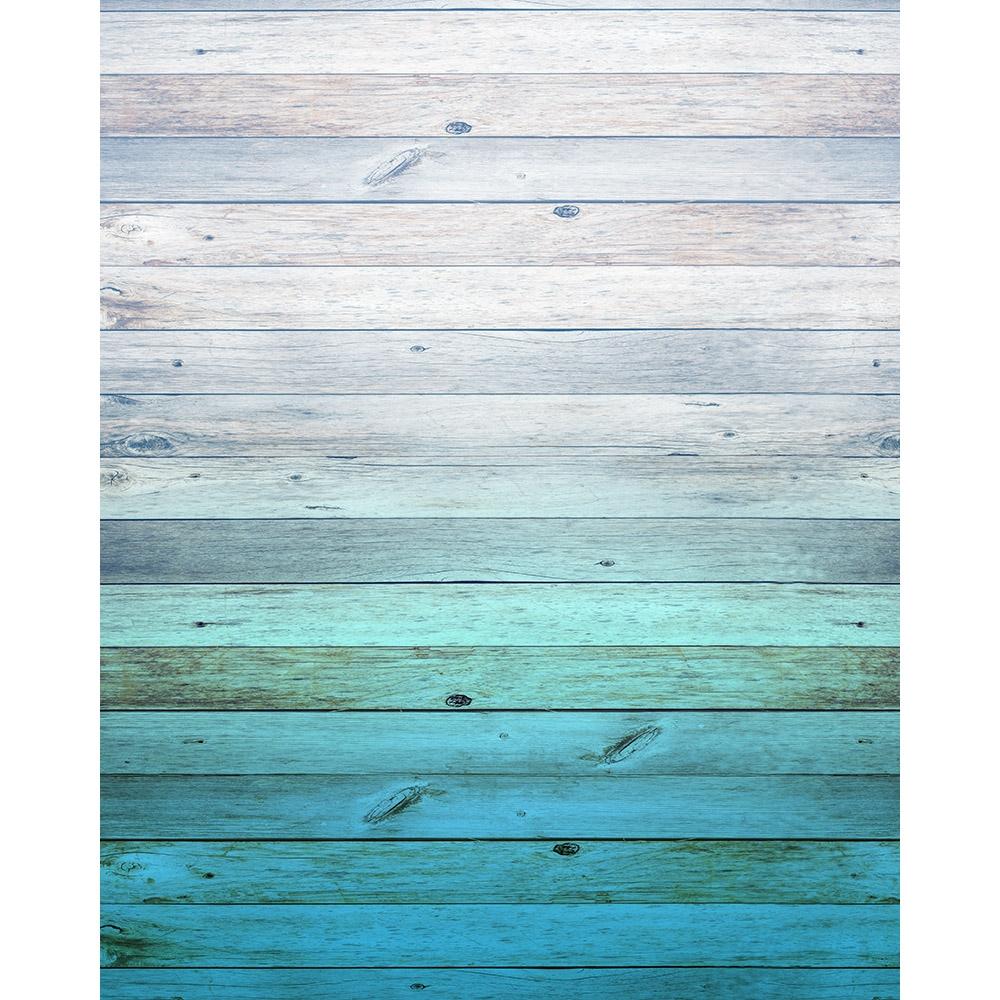 Aqua Ombre Wood Planks Backdrop Express
